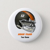 Black and Orange Football Helmet Pinback Button