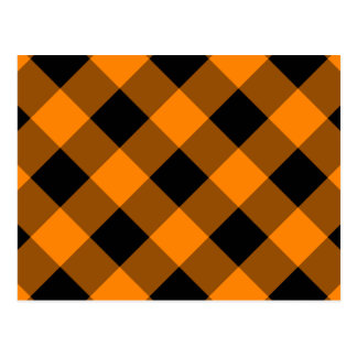 Black and Orange Gingham Pattern Postcard