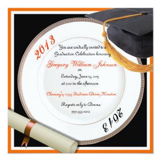 Black and Orange Graduation Party Invitations