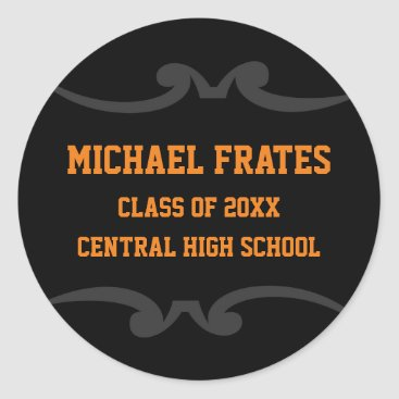 Beach Themed Black and Orange Graduation Sticker Template