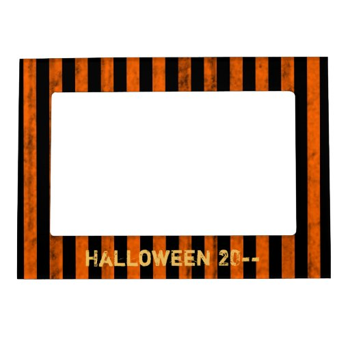 Black and orange grungy Halloween stripes Magnetic Picture Frames