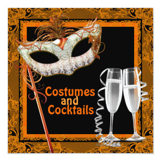 Black and Orange Halloween Costume Party Card