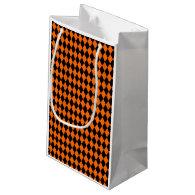 Black And Orange Halloween Diamond Rows Small Gift Bag