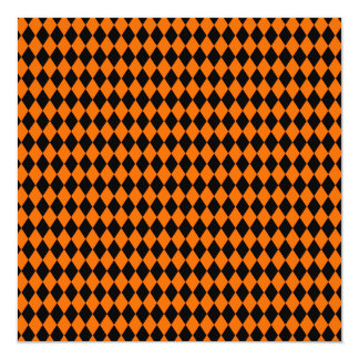 Black And Orange Halloween Diamond Rows Personalized Announcements