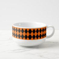 Black And Orange Halloween Diamond Rows Soup Mug