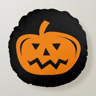 Black and orange Halloween pumpkin throw pillow
