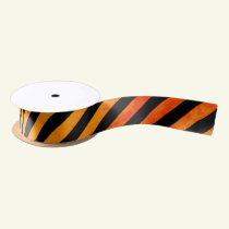 Black and Orange Halloween Striped Satin Ribbon