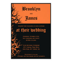 Black And Orange Halloween Wedding Invitations