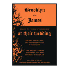 Black And Orange Halloween Wedding Invitations at Zazzle