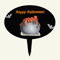Black and orange Happy Halloween with cauldron Cake Topper