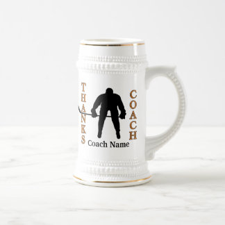 Black and Orange Hockey Coach Gifts PHOTO and TEXT Beer Stein
