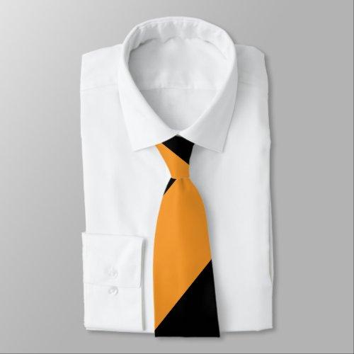 Black and Orange II Broad Regimental Stripe Neck Tie