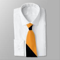 Black and Orange II Broad University Stripe Neck Tie