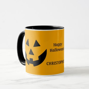 Halloween Themed Black and Orange Jack O Lantern Personalized Mug