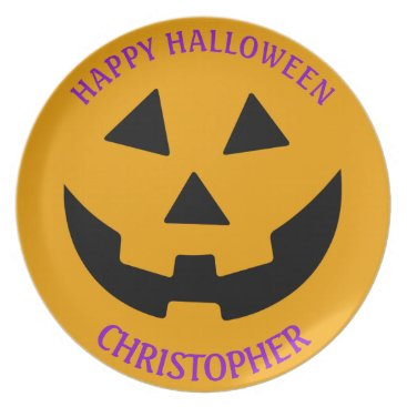 Halloween Themed Black and Orange Jack O Lantern Personalized Plate