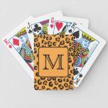 Black and Orange Leopard Print. Custom Monogram. Bicycle Playing Cards