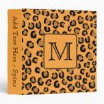 Black and Orange Leopard Print. Custom Monogram. 3 Ring Binders