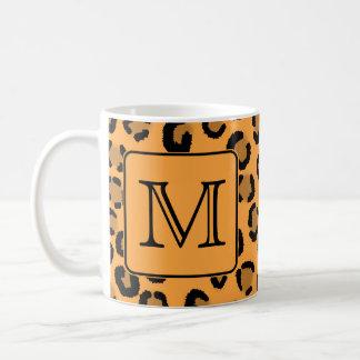 Black and Orange Leopard Print. Custom Monogram. Coffee Mug