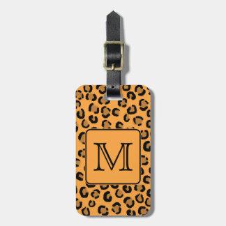 Black and Orange Leopard Print Custom Monogram Travel Bag Tag