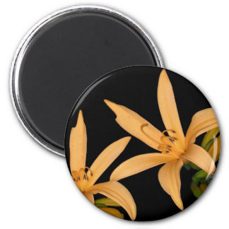 Black and Orange Lilly 2 Inch Round Magnet