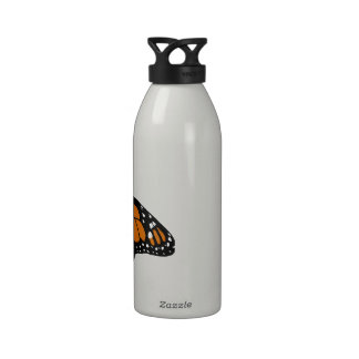 Black and Orange Monarch Butterfly Reusable Water Bottles
