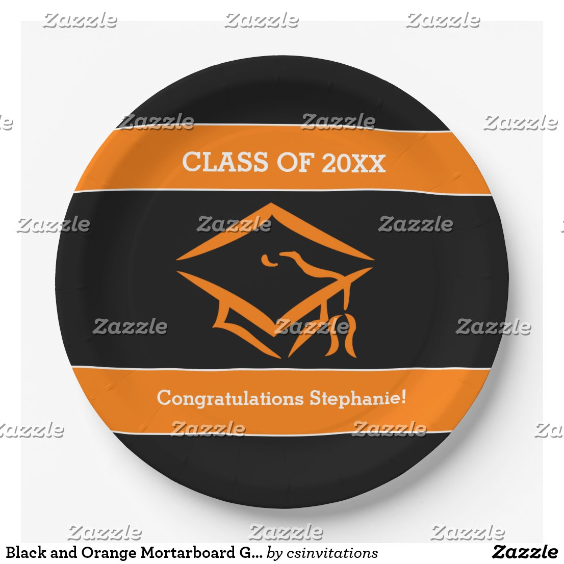 Black and Orange Mortarboard Graduation Party Paper Plate