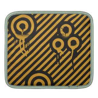 Black and Orange Paint Splash Grunge Circles iPad Sleeves