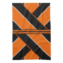 Black and Orange Patterned Kitchen Towel