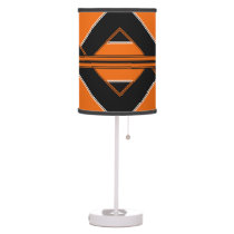 Black and Orange Patterned Shaded Table Lamp