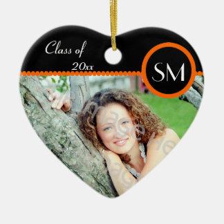 Black and Orange Photo Graduation Ornament