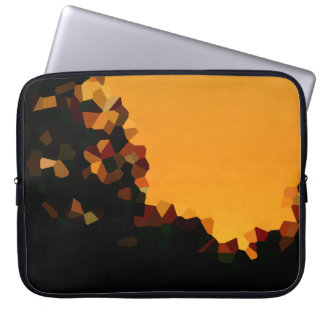 Black and Orange Pixel Mosaic Shape Abstract Laptop Sleeve