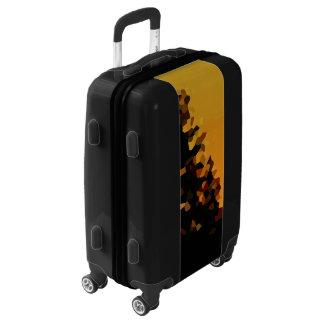Black and Orange Pixel Mosaic Shape Abstract Luggage