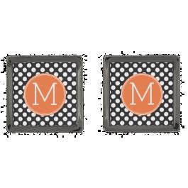 Black and Orange Polka Dots with Custom Monogram Gunmetal Finish Cufflinks