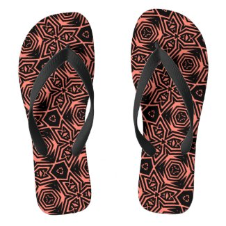 Black and Orange Psychedelic Geometric Pattern Flip Flops