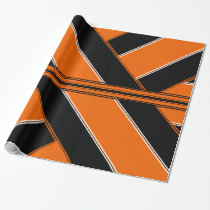 Black and Orange Ribbon-Patterned Wrapping Paper