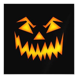 Black and Orange Scary Pumpkin Halloween Magnetic Card