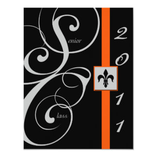Black and Orange Scroll Ribbon Graduation Custom Invite