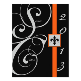 Black and Orange Scroll Ribbon Graduation Personalized Announcements