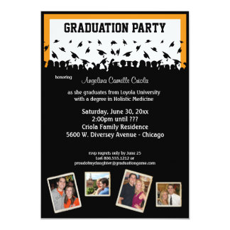 Black And Orange Silhouette Graduation Party Card