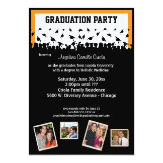 "Black And Orange Silhouette Graduation Party 5"" X 7"" Invitation Card"