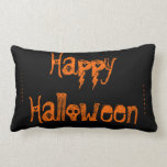 black and orange skull Halloween pillow