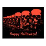 Black and Orange Skulls Halloween Cards Postcard