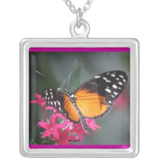 Black and Orange Spotted Butterfly 2 necklace
