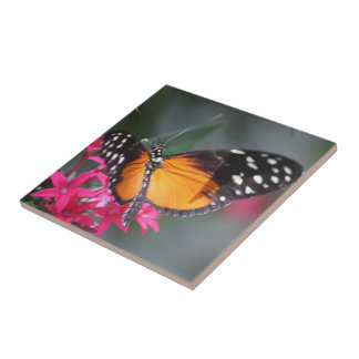 Black and Orange Spotted Butterfly 2 Tile