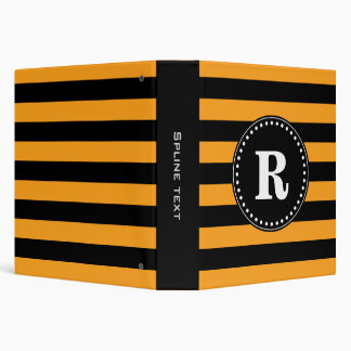 Black and orange stripes pattern binder