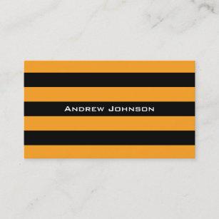 Black And Orange Stripes Pattern Business Card