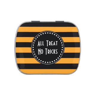 Black and orange stripes pattern candy tins