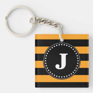 Black and orange stripes pattern Double-Sided square acrylic keychain