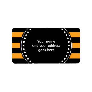 Black and orange stripes pattern label