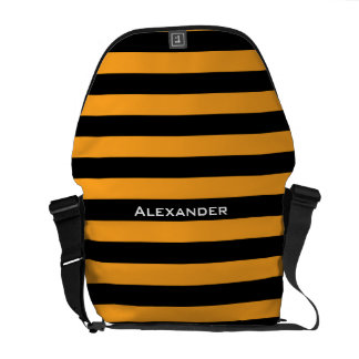 Black and orange stripes pattern courier bags
